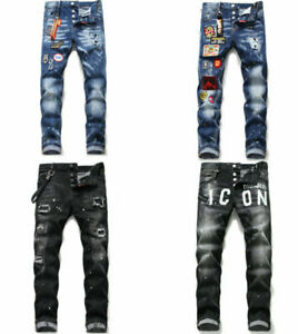 Men's Retro DSQ2 Washed Denim Jegging Trousers Dsquared2 Jeans Ripped Slim Fit