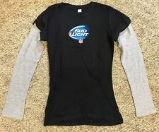 New Womens Large Long Sleeve T-Shirt NFL Bud Light Fitted