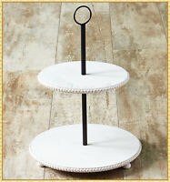 2 TIER Serving Stand Farmhouse Round Wooden Tray Food Storage Office Supplies