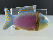 LIMOGES FRANCE Porcelain hand-painted tropical fish hinged box Chamart