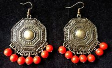 Boho Tibetan Style Antique Chandelier earrings with red bead fringing