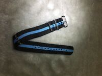22mm .Nato. Nylon Watch Strap Wristwatch Band.Brand new. 2Black_Baby blue