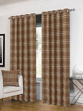 Luxurious Ring Top Eyelet Lined Plaid Check Ready Made Curtain Pair - 5 Colours Natural 90 X 90 Inches