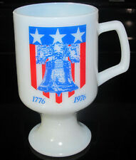 Vintage Milk White Glass Pedestal Coffee Mug Cup Bicentennial Liberty Bell 1776