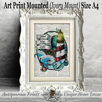 Light House and Octopus Art Print on antique Dictionary Book Page Bathroom Decor