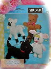 Vintage 1960s Toy Knitting Pattern for Teddy Scottie Dog Lamb & Baby Bunting
