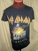 Womens Def Leppard Pyromania Full Color Graphic Print Band T Shirt Navy Blue