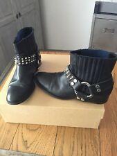 Zadig & Voltaire boots en cuir noir clous argentés taille 36/37