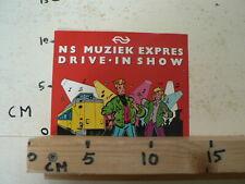 STICKER,DECAL NS MUZIEK EXPRESS DRIVE IN SHOW NS TREIN TRAIN RARE STICKER