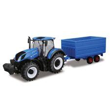 Bburago 1:32 New Holland T7Hd Tractor With Hay Trailer Diecast Metal Model