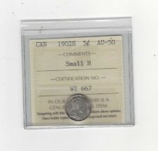 **1902H Small H**, ICCS Graded Canadian,  5 Cent, **AU-50**