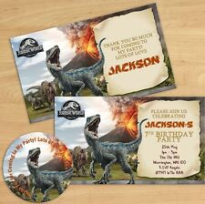 JURASSIC WORLD DINOSAUR PERSONALISED BIRTHDAY PARTY INVITATIONS KIDS INVITES