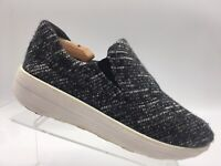 FitFlop F-Sporty Mirage II Black White Casual Slip On Comfort Shoe Womens US 8