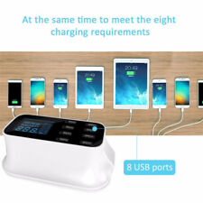 Multi USB charger 8-Port Dock Smart Charging Station Hub LCD Display UK PLUG