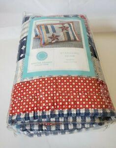 Martha Stewart Independence stripe Quilted Standard Sham Red White blue $60