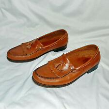 SAS Men's Tan Leather Tasseled Kiltie Loafers Shoes Hand Sewn in USA Size 12 N