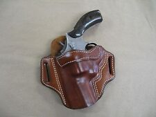 """Smith & Wesson S&W L Frame 686 2-3"""" Leather 2 Slot Pancake Belt Holster TAN LH"""