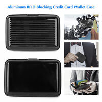 BLOCKING HARD CASE WALLET CREDIT CARD ANTI-RFID SCANNING PROTECT HOLDER BLACK