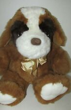 "Plush large St Bernard dog brown white cream pawprint bow 14"" seated 21"" long"