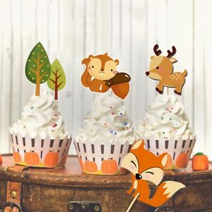 15X Woodland Jungle Animal Paper Cupcake Topper Baby Shower Birthday Party Decor