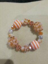 Beaded Stretch Bracelet Lilah Ann Beads Czech Lampwork Crystal Peach