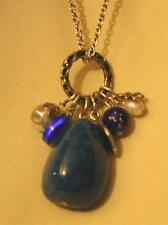 Handsome Sloped Marbled Blue Stone Glass Bead Cluster Silvertn Pendant Necklace