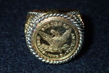 Vintage Men's Patriotic Ring Us Gold Motif Protecting Out Freedoms Collector Ed.