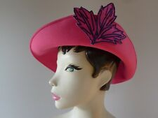 Vintage 60s pink fabric slouch Hat spring racesgood