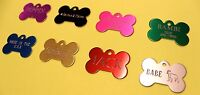 CUSTOM PET TAG BONE (4.0CM) ID DOG TAGS 2-SIDE PERSONALIZED DIAMOND ENGRAVED