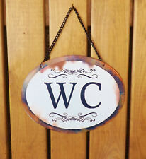 Victorian Style Oval Distressed White Metal WC Plaque Toilet Loo Sign on Chain
