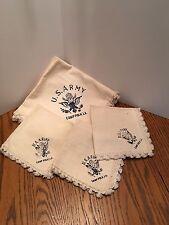 Camp Polk Linen Tablecloth & Three Napkins