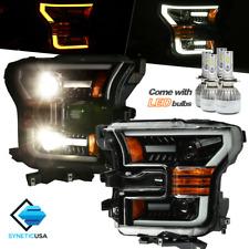2015-2017 F-150 Black Projector Headlights Headlamps LED Switchback Turn Signal