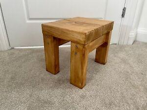 Handmade Rustic Wooden Step Stool Footstool Solid Wood Varnished Footrest