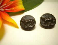 2 ANTIQUE PRANCING HORSE FRENCH HUNTING PICTURE BUTTONS ~ PARIS BACK