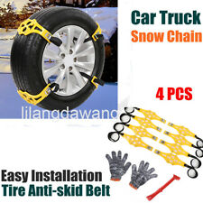 4Pc/set Winter Truck Car Snow Chain Tire Anti-skid Belt Easy Installation Yellow