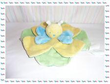C - Doudou Semi Plat Fleur Papillon Jaune Vert Bleu Kimbaloo