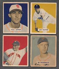1949 BOWMAN CARD LOT HATTEN LEHNER FITZGERALD LOHRKE NO NAME #59 109 116 130 ABC