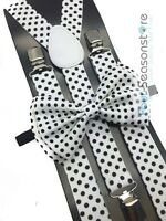 White w/ Black Polka Dot Bow Tie And Suspender Matching Set Tuxedo Wedding Party