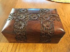 VINTAGE WOOD BOX HAND CARVED ROSEWOOD FLORAL BOX INDIA