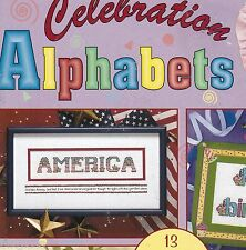 Cross Stitch ABC 13 Celebrations Alphabets Flag Graduate Hanukkah Snow Baby Cake