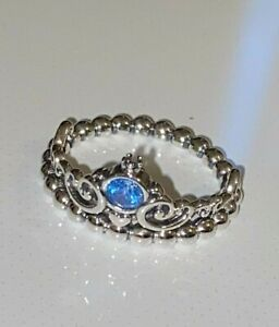 PANDORA Disney Cinderella Blue Tiara Ring , S925 ALE, STERLING SILVER, All Sizes