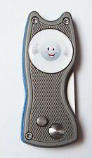Pitchfix Hybrid, grau/blau, aufklappbare Pichgabel + Marker GOLFBALL SMILE TOP