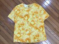 Escada Margaretha Ley Women's Yellow Floral Silk Top Blouse Size 44