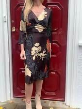 BOSS HUGO BOSS Black Burgundy Silk Floral 3/4 Sleeve V Neck Dress IT 44 UK 12