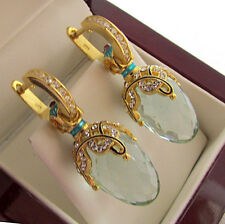 SALE ! STUNNING RUSSIAN AQUAMARINE  made of STERLING SILVER 925 EARRINGS  ENAMEL