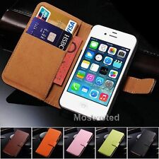 Genuine Leather Wallet Flip Case Cover for Apple iPhone 4S 4