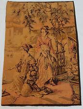 VINTAGE Francese bellissime donne cinesi Arazzo Appeso a Parete 88x127cm T269