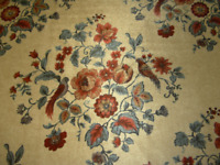 Retro Upholstery fabric cut velvet floral bird design blue rust tan vintage NOS