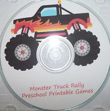 Monster Truck themed preschool learning games.  Memory matching, math, pattern,