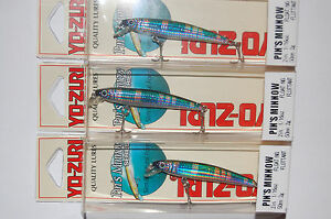 "3 discontinued old lures yo zuri pins pin's minnow f196-m36 2"" 1/16oz perch"